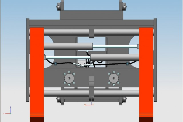 Tilting carriage with sideshift/fork positioner 2  cylinders and forks double pin-type
